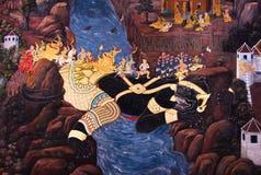 Väggmålning på väggtemplet av Emerald Buddha Arkivbild