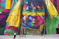 Väggmålning som skapas för Rio Olympics arkivfoto