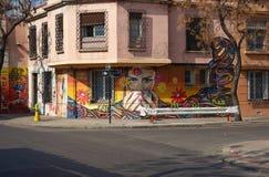 Väggmålningar av barrioen Yungay Royaltyfri Foto