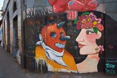 Väggmålningar av barrioen Yungay Fotografering för Bildbyråer