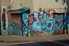 Väggmålningar av barrioen Yungay Royaltyfri Fotografi