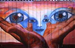 Väggmålningar av den Balmy gränden, San Francisco, Kalifornien, USA Royaltyfria Bilder