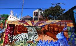 Väggmålningar av den Balmy gränden, San Francisco, Kalifornien, USA Fotografering för Bildbyråer