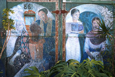 Väggmålningar av den Balmy gränden, San Francisco, Kalifornien, USA Arkivbild