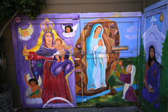 Väggmålningar av den Balmy gränden, San Francisco, Kalifornien, USA Royaltyfri Fotografi