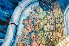 Väggmålningar på den Berlin väggen Arkivbild