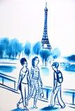 Väggmålningen berättar berättelsen av Paris Royaltyfria Bilder