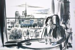 Väggmålningen berättar berättelsen av Paris Royaltyfri Bild