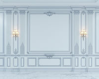 Väggpaneler i klassisk stil med att försilvra framförande 3d Arkivbilder
