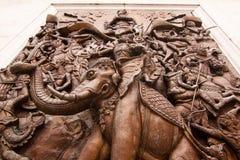 Väggskulptur i den Trimit templet Fotografering för Bildbyråer