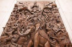 Väggskulpturhistoria i den Trimit templet Royaltyfria Foton