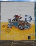 Väggväggmålning för El Raton vid areliartväggmålningar, djupa Ellum, Texas Arkivfoto