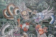 Väggväggmålning för fyra drakar Arkivbild