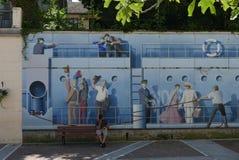 Väggväggmålning i Evian les Bains på sjöGenève royaltyfria bilder