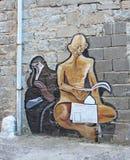 Väggväggmålning i Orgosolo, Sardinia Arkivbild