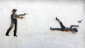 Väggväggmålning i San Sperate Arkivfoto
