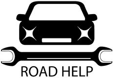 Väghjälptecken med den svarta bilen och hjälpmedel för reparation Fotografering för Bildbyråer