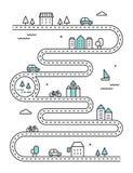 VägIlludtrated översikt med stadbyggnader och transport Infographic design för vektor Royaltyfria Bilder