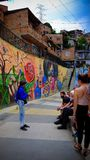Väglett turnera i Comuna 13 Arkivfoto