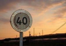 Vägmärke 40 Fotografering för Bildbyråer