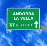 Vägmärke för ANDORRA LA VELLA mot klar blå himmel fotografering för bildbyråer