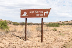 Vägmärke för den sceniska rutten längs den Gariep fördämningen Fotografering för Bildbyråer