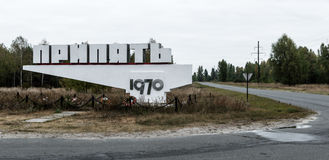 Vägmärke för `-Pripyat ` Arkivfoton