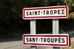 Vägmärke för St. Tropez fotografering för bildbyråer