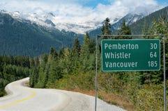 Vägmärke i British Columbia Royaltyfri Bild