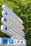 Vägmärke i europeisk huvudstad av Strasbourg Royaltyfri Foto