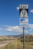 Vägmärke på scenisk byway 12 i Utah Royaltyfria Bilder