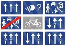Vägmärke som används i Spanien - one-wayväg för tre gränder Fotografering för Bildbyråer