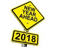 Vägmärke som framåt indikerar det nya året 2018 arkivbild