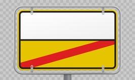 Vägmärke, stadsgräns och vitt stadtillträdes- och utgångsmellanrum som är gult och Vägmärke för tillträde och för utgång för grän vektor illustrationer