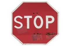 Vägmärke`-stoppet och ger väg` som isoleras på vit Arkivfoto