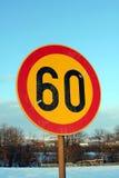 Vägmärkehastighetsbegränsning 60 Arkivbild