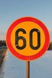 Vägmärkehastighetsbegränsning 60 Arkivbilder