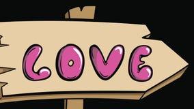 Vägmärken älskar och hjärta arkivfilmer