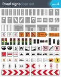 Vägmärken som isoleras på vit bakgrund Tecken för vägteckning, cycleway tecken, tecken för trafiksignaler, kompletterande plattor stock illustrationer