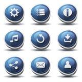Vägmärkesymboler och knappar för den Ui leken Arkivfoton