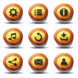 Vägmärkesymboler och knappar för den Ui leken Arkivbilder