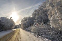 Vägmärkevarningen vänder på vintervägen royaltyfri fotografi