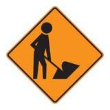 vägmärkevarningsarbetare royaltyfri illustrationer