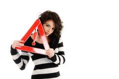 vägmärkevarningskvinna Fotografering för Bildbyråer