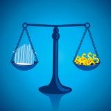 Vägning av utgångspunkten och av dina pengar Arkivbild