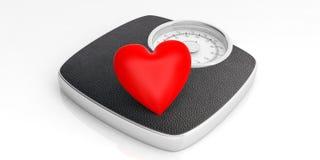 Vägningsskala och en röd hjärta som isoleras på vit bakgrund illustration 3d royaltyfri illustrationer