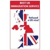 Vägrade ett UK-visum? - tryckbar stämpel/etikett royaltyfri illustrationer