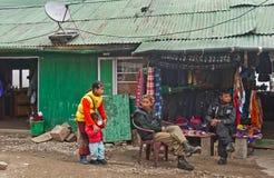 Vägrenen shoppar på vägen till det Nathula passerandet Royaltyfria Foton