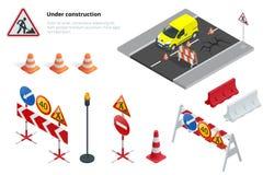 Vägreparation, under konstruktionsvägmärken Isometrisk illustration för plan vektor 3d Royaltyfri Fotografi