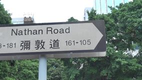 VägSignage av Nathan Road, Kowloon, Hong Kong arkivfilmer